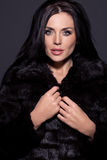 Portrait of a beautiful brunette in fur Royalty Free Stock Photo