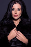 Portrait of a beautiful brunette in fur Royalty Free Stock Images
