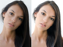 Portrait of a beautiful brunette girl before and after retouching with photoshop. Royalty Free Stock Photo