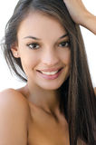 Portrait of a beautiful brunette girl smiling. Royalty Free Stock Images