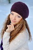 Portrait Beautiful brunette girl on a walk in winter Stock Image