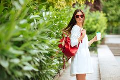 Portrait of beautiful brunette girl walking down the street. royalty free stock images