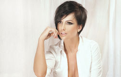 Portrait of beautiful brunette lady with short hair Stock Photo