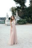 Portrait of beautiful brunette in long chiffon rose dress Royalty Free Stock Photography