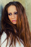 Portrait of the beautiful brunette with long hair Royalty Free Stock Photography