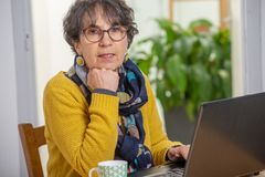 Portrait of beautiful brunette mature woman with a laptop at home stock photos