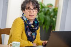 Portrait of beautiful brunette mature woman with a laptop at home stock photo