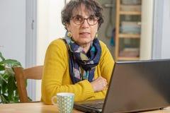 Portrait of beautiful brunette mature woman with a laptop at home. Portrait of a beautiful brunette mature woman with laptop at home stock image