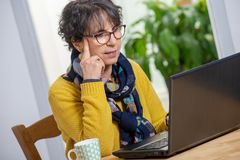 Portrait of beautiful brunette mature woman with a laptop at home. Portrait of a beautiful brunette mature woman with laptop at home stock photography