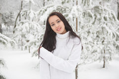 Portrait of a beautiful brunette outdoors. Stock Photography