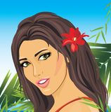 Portrait of a beautiful brunette among palm branches. Illustration Stock Photos