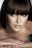 Portrait of beautiful brunette with perfect haircut. Royalty Free Stock Photography