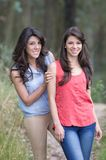 Portrait of beautiful brunette sisters in a forest Stock Photos