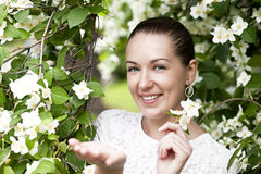 Portrait of beautiful brunette in spring blossom Stock Photography