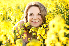 Portrait of beautiful brunette in Spring Stock Photo