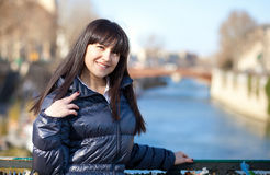 Portrait of beautiful brunette tourist in Paris Royalty Free Stock Photos