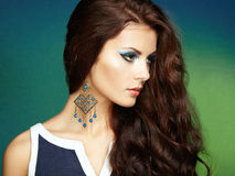 Portrait of beautiful brunette woman with earring. Perfect makeu Royalty Free Stock Images