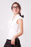 Portrait of beautiful brunette woman in glasses Royalty Free Stock Photography