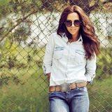 Portrait of beautiful brunette woman outdoor Royalty Free Stock Photos