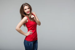 Portrait of beautiful brunette woman posing in studio Royalty Free Stock Photo