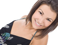 Portrait of beautiful brunette woman smiling Stock Images