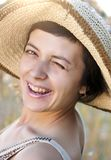 Portrait of beautiful brunette woman in summer Stock Photography