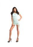 Portrait of beautiful brunette woman wearing short dress Stock Image