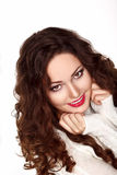 Portrait of Beautiful Brunette Woman in White Knitted Jersey - Pretty Smile Stock Photography