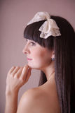 Portrait of a beautiful brunette woman. Portrait of a beautiful brunette young woman Royalty Free Stock Images