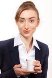 Portrait beautiful business woman with coffee royalty free stock photos