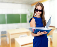 Portrait of a beautiful business woman with folders Stock Photography