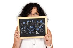 Business woman holding chalckboard with business sketch royalty free stock photo