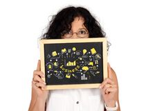 Business woman holding chalckboard with business sketch royalty free stock images