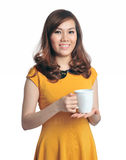 Portrait of beautiful business woman holding coffe Royalty Free Stock Images