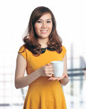 Portrait of beautiful business woman holding coffe Stock Photography