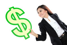 Portrait of beautiful business woman holding a US dollar symbol Stock Image