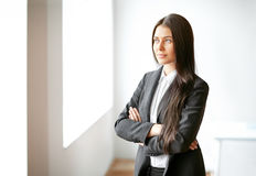 Portrait of beautiful business woman in the office Stock Photos