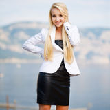 Portrait of a beautiful business woman outdoors. Portrait of a beautiful business woman stock photography