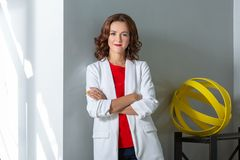 Portrait of a beautiful business woman. Photo in the room Stock Photo