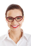 Portrait of beautiful business woman in red eyeglasses. Royalty Free Stock Images