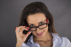 Portrait of beautiful business woman wearing glasses Royalty Free Stock Photo
