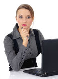 Portrait of a beautiful business woman working on. Her computer at the office stock photo