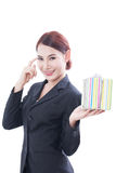 A Portrait of beautiful businesswoman with gift box Stock Photos