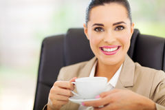 Businesswoman having tea Stock Photos