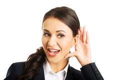 Portrait of beautiful businesswoman overhears Royalty Free Stock Photo