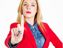 Portrait of beautiful businesswoman touching on empty space in f Royalty Free Stock Photo