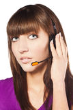 Portrait of beautiful, call centre employee Stock Photography