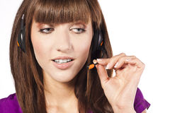 Portrait of beautiful, call centre employee Royalty Free Stock Photo