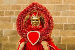 Portrait of beautiful carnival mask of heart queen Stock Images