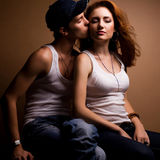 Portrait of a beautiful casual couple in jeans Royalty Free Stock Photos